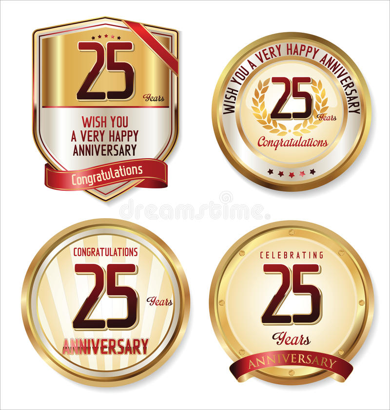 Etiquetas douradas do aniversário 25 anos ilustração do vetor