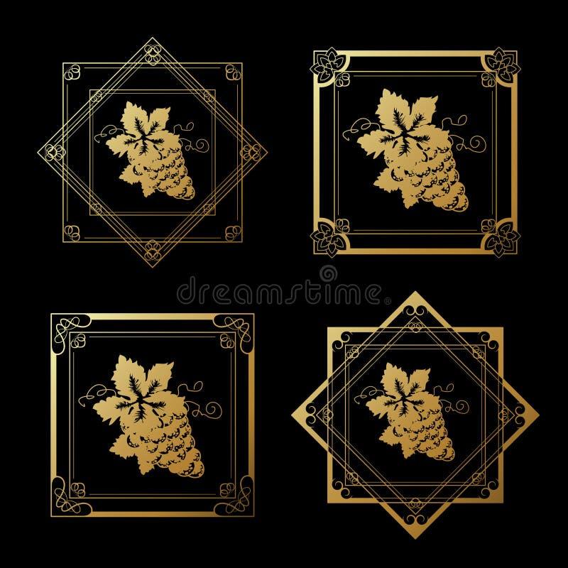 Etiquetas douradas do vinho com as uvas no fundo preto Quadros do quadrado e da estrela na garrafa de vinho Beira decorativa ilustração do vetor