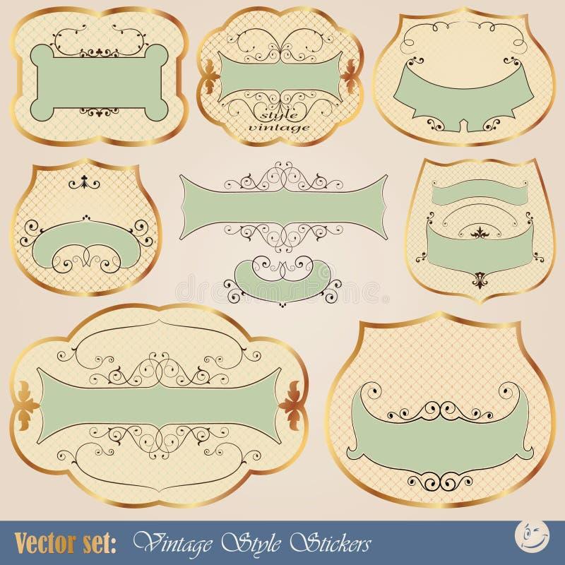 Etiquetas douradas luxuosas do vintage ilustração stock