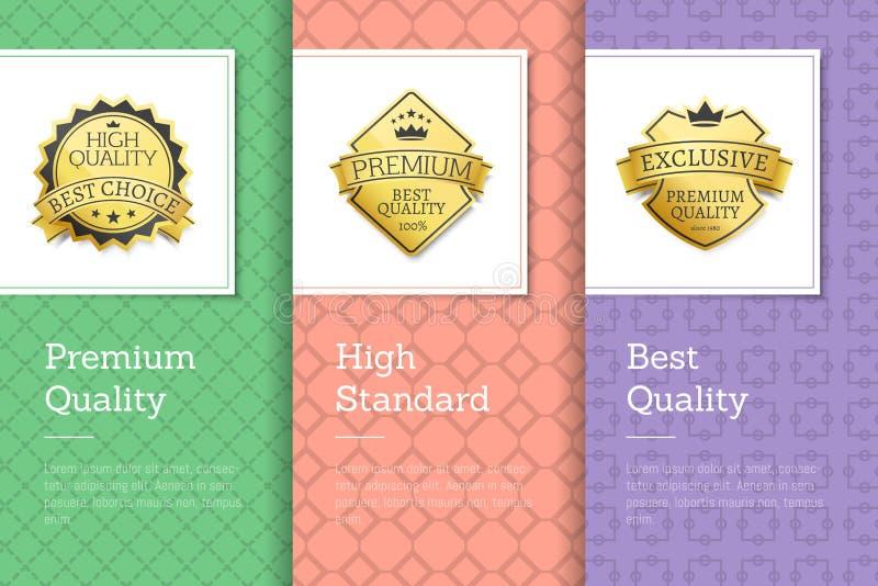 Etiquetas douradas padrões elevados superiores da qualidade dos melhores ilustração do vetor