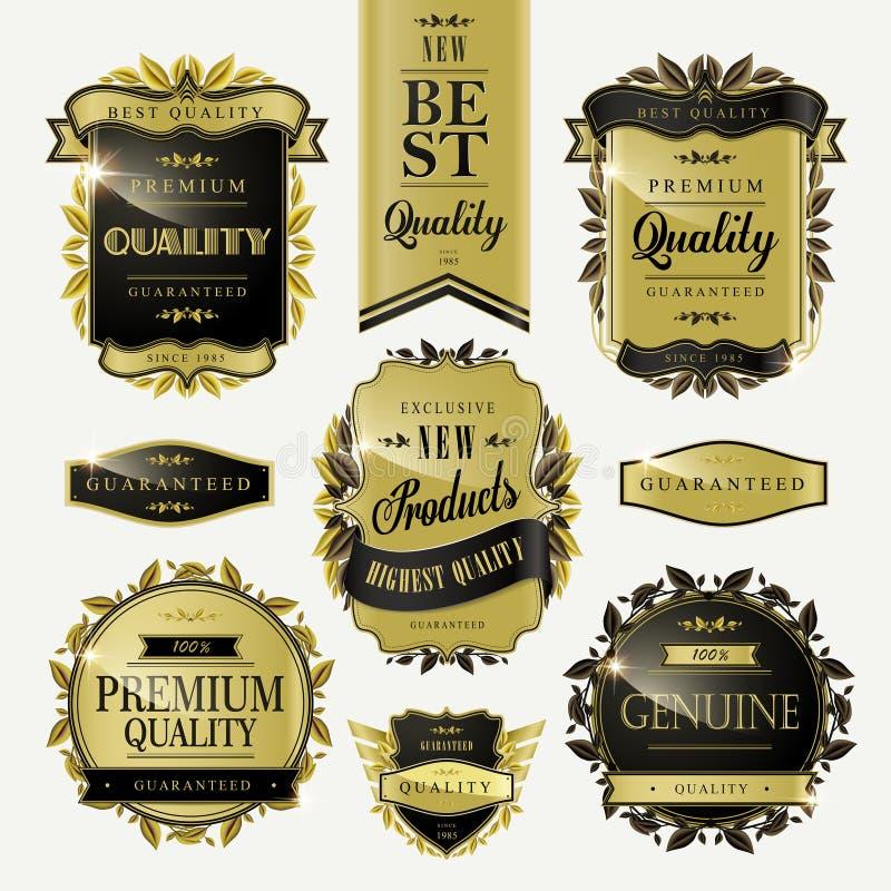 Etiquetas douradas superiores da qualidade ilustração do vetor