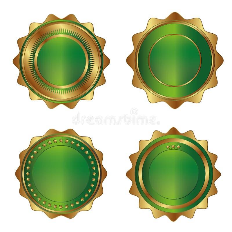 etiquetas Dourado-verdes do luxo ilustração do vetor