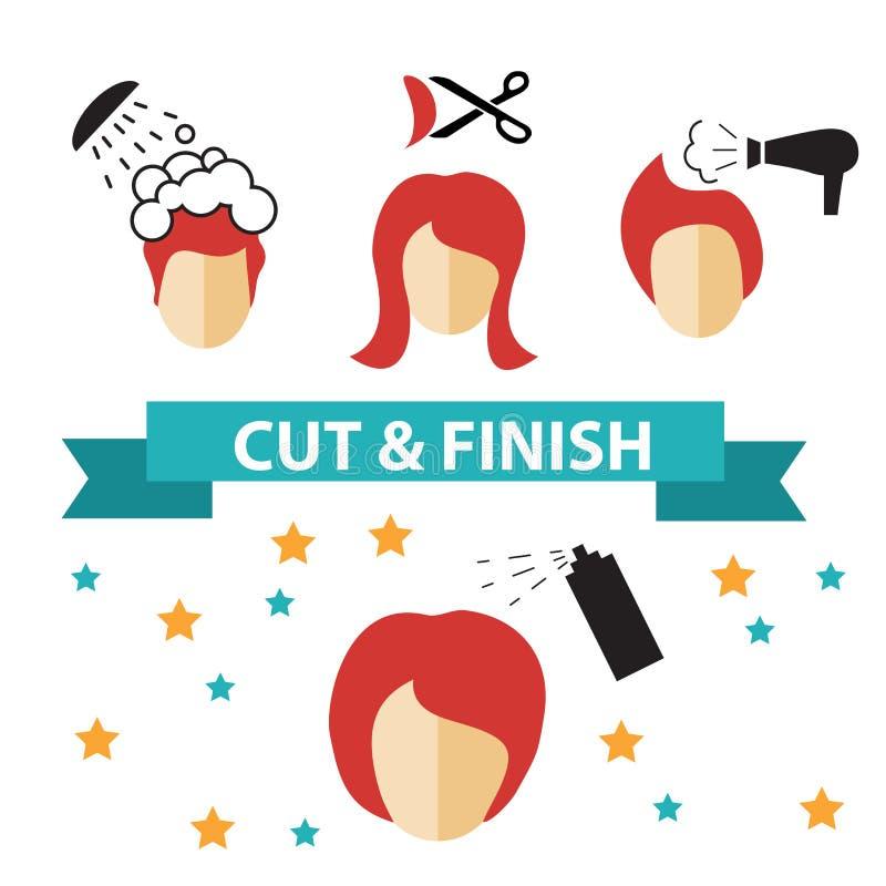 Etiquetas e ícones ajustados do cabeleireiro do vetor ilustração royalty free