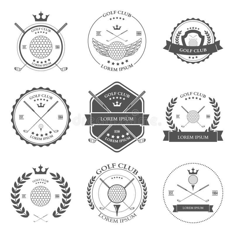 Etiquetas e ícones do golfe ajustados Vetor ilustração stock