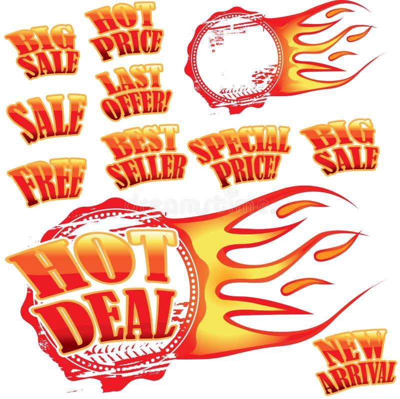Etiquetas e carimbo de borracha flamejantes da venda ilustração royalty free