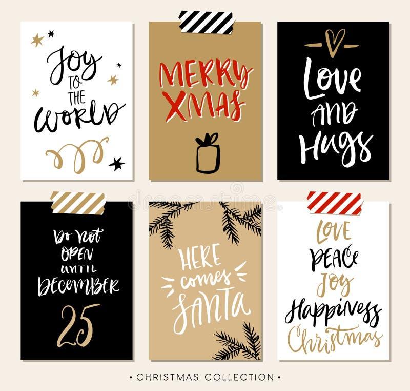 Etiquetas e cartões do presente do Natal com caligrafia ilustração royalty free