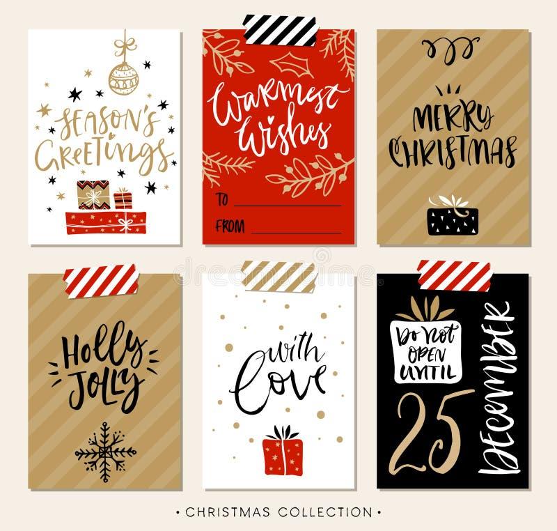 Etiquetas e cartões do presente do Natal com caligrafia ilustração do vetor