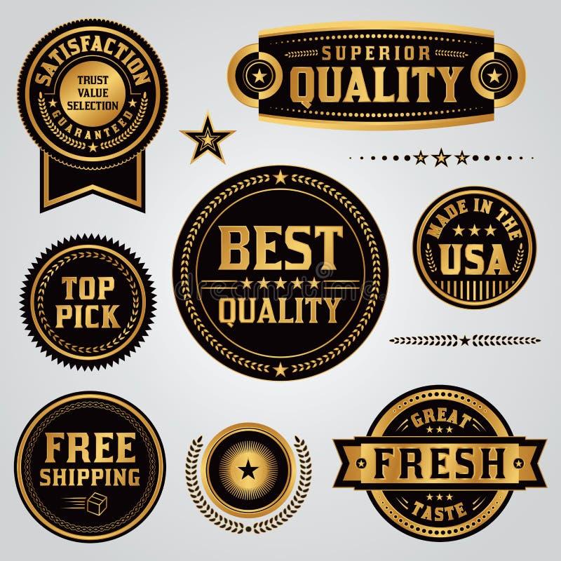 Etiquetas e crachás do controle de qualidade ajustados ilustração do vetor