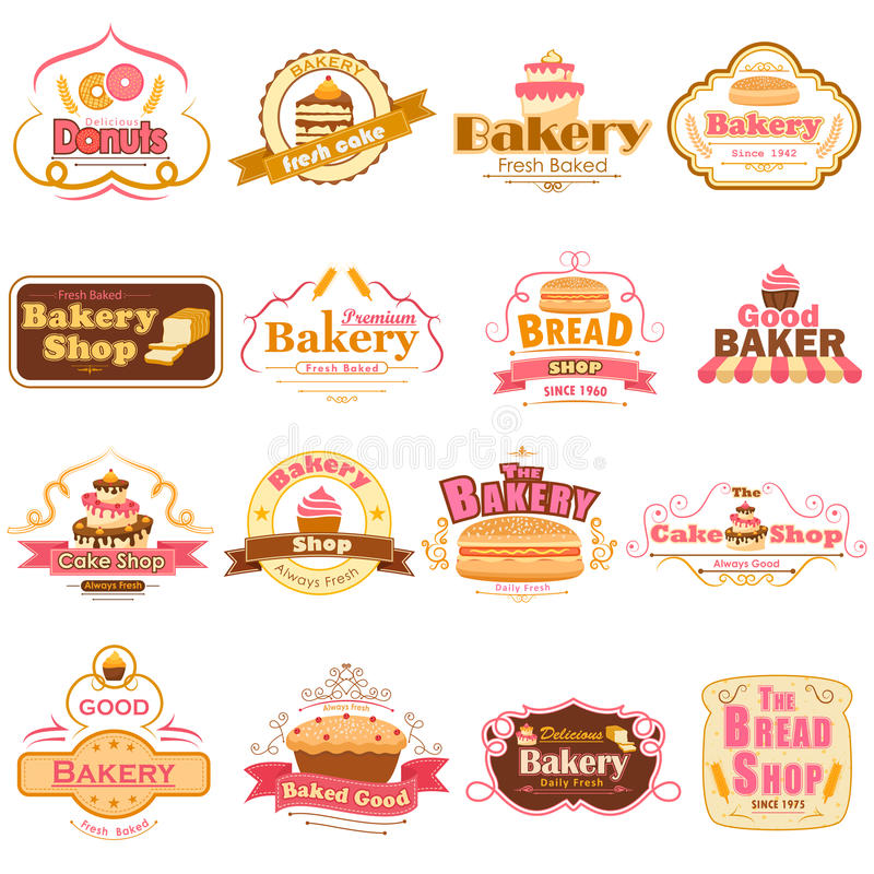 Etiquetas e crachás para o produto fresco da padaria ilustração stock
