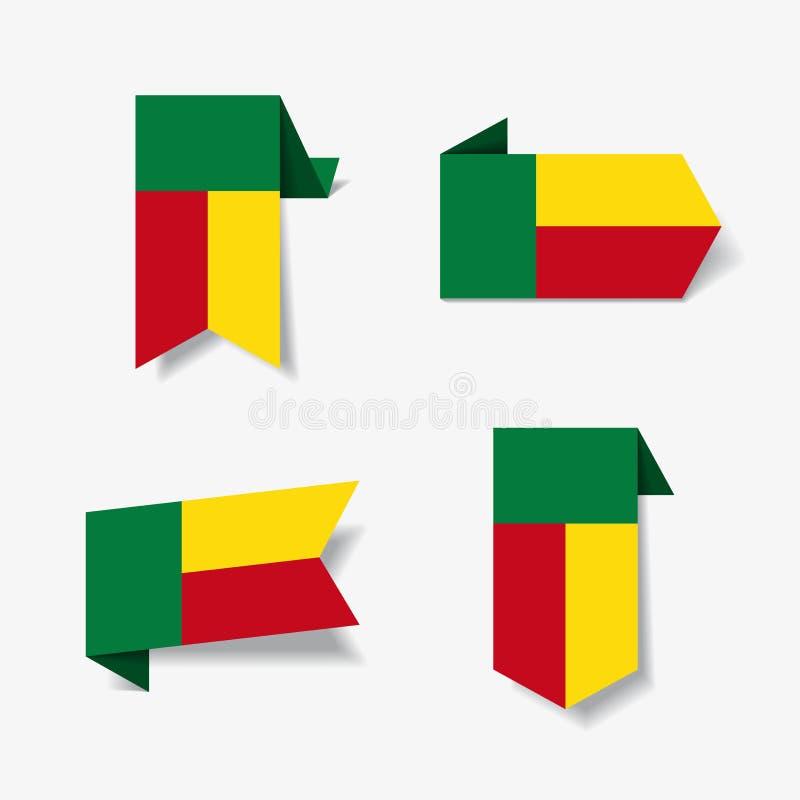 Etiquetas e etiquetas da bandeira de Benin Ilustração do vetor ilustração do vetor