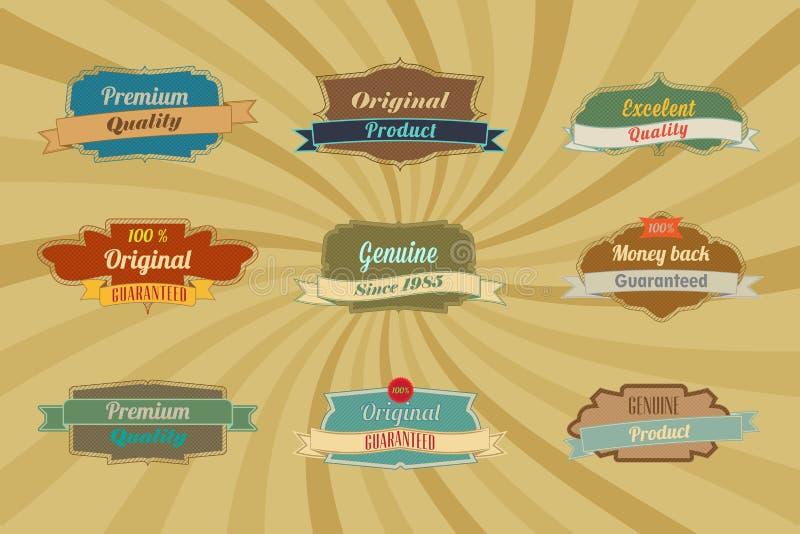 Etiquetas e divisores azuis do restaurante do vintage ilustração royalty free