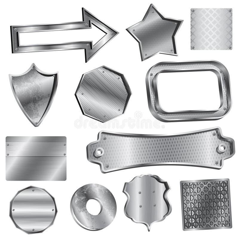 Etiquetas e emblemas brilhantes da prata ilustração stock