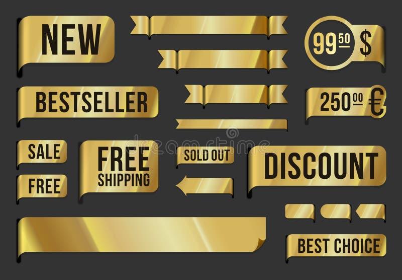 Etiquetas e fitas douradas ilustração do vetor
