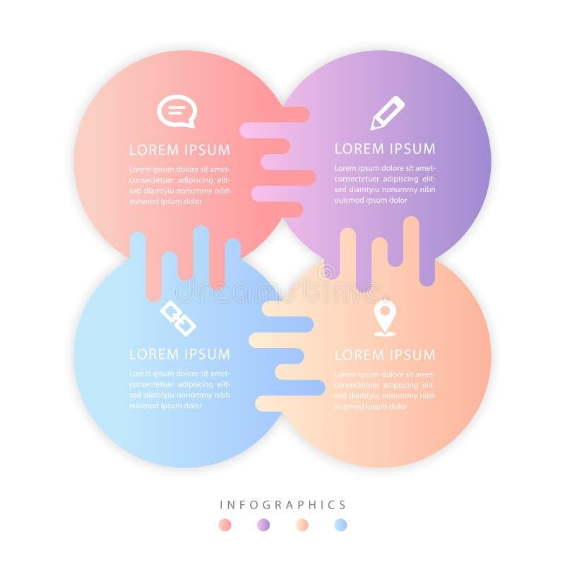 Etiquetas e iconos coloridos de la pendiente del dise?o UI del vector de la cadena cruzada infographic de la plantilla libre illustration