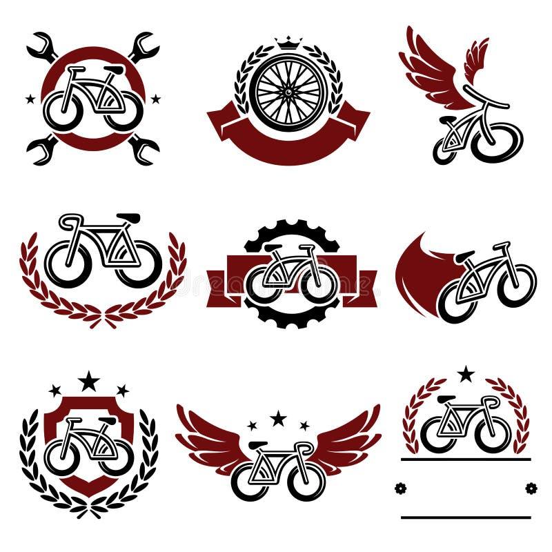 Etiquetas e iconos de la bicicleta fijados Vector ilustración del vector
