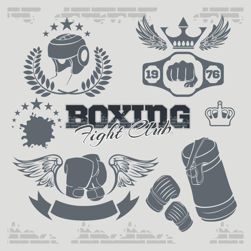 Etiquetas e iconos del boxeo fijados Ilustración del vector ilustración del vector