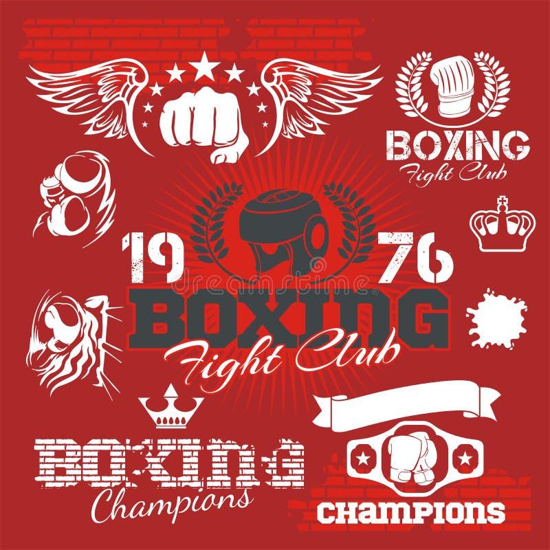 Etiquetas e iconos del boxeo fijados Ilustración del vector stock de ilustración