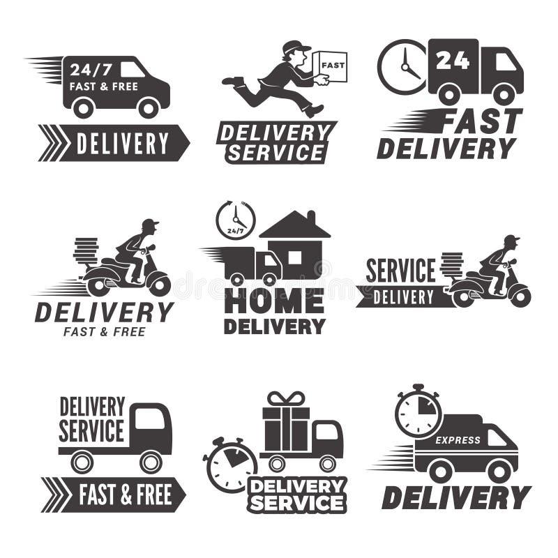 Etiquetas e iconos monocromáticos para el servicio de entrega stock de ilustración
