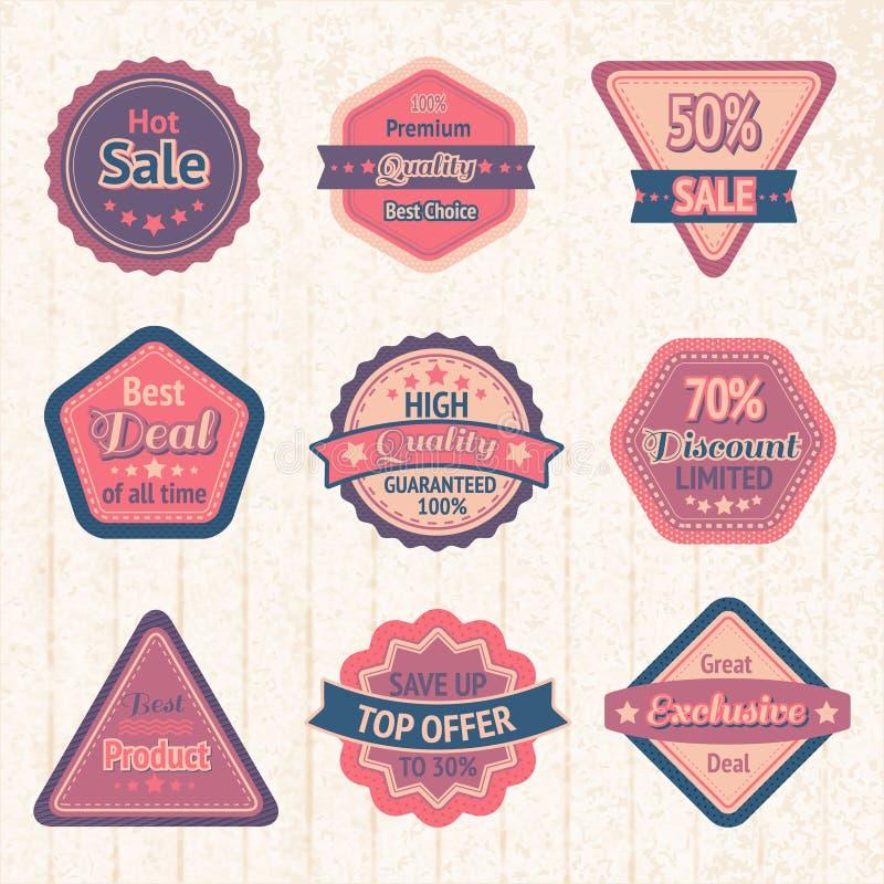 Etiquetas e insignias de la venta del vintage fijadas stock de ilustración