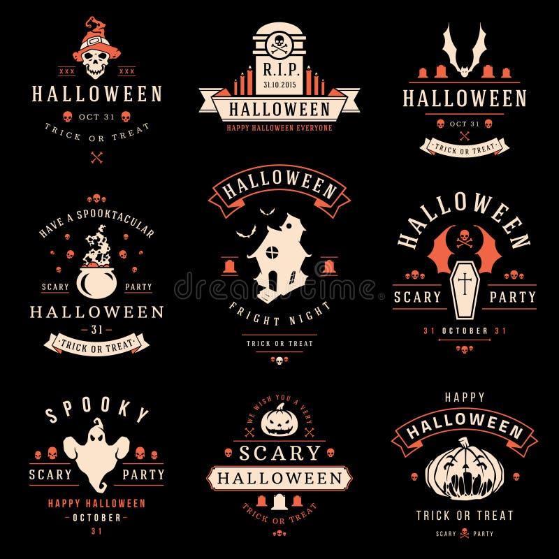 Etiquetas e insignias del día del feliz Halloween stock de ilustración