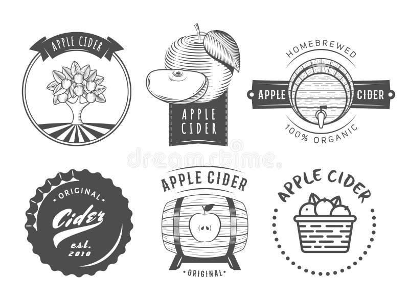 Etiquetas e logotipos da cidra do vetor Grupo de crachás do vintage para a bebida da sidra de maçã ilustração stock
