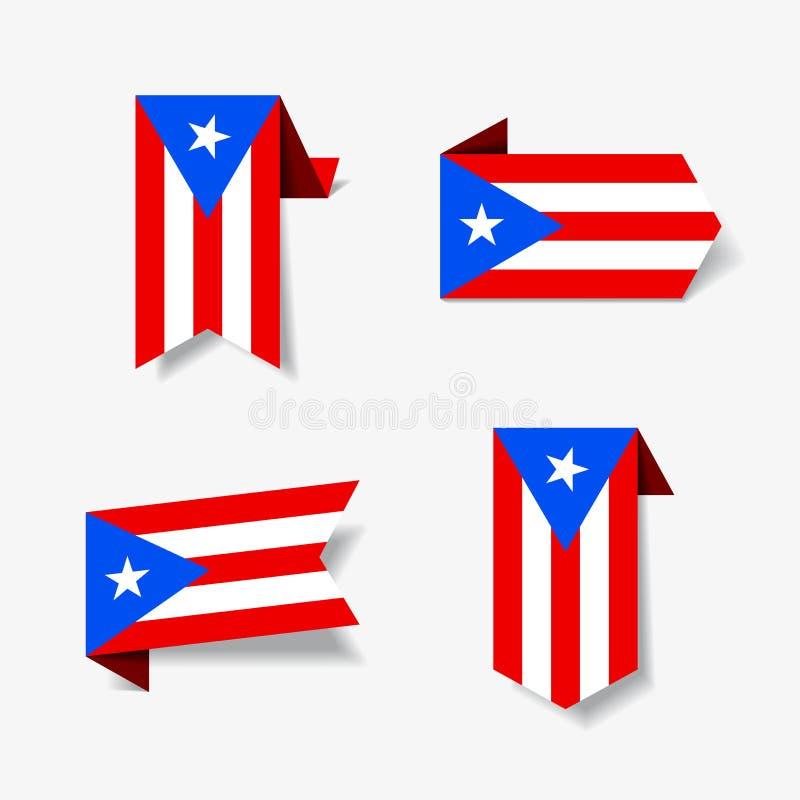Etiquetas e etiquetas porto-riquenhas da bandeira Ilustração do vetor ilustração royalty free