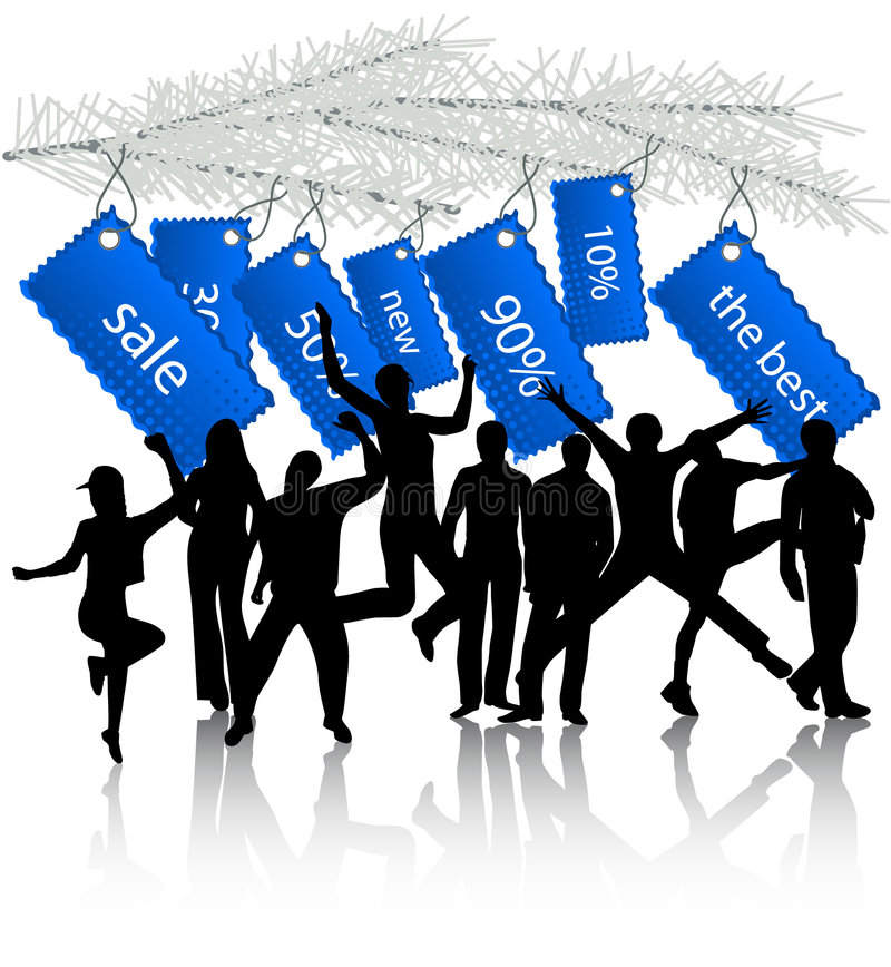 Etiquetas e povos do ano novo ilustração do vetor