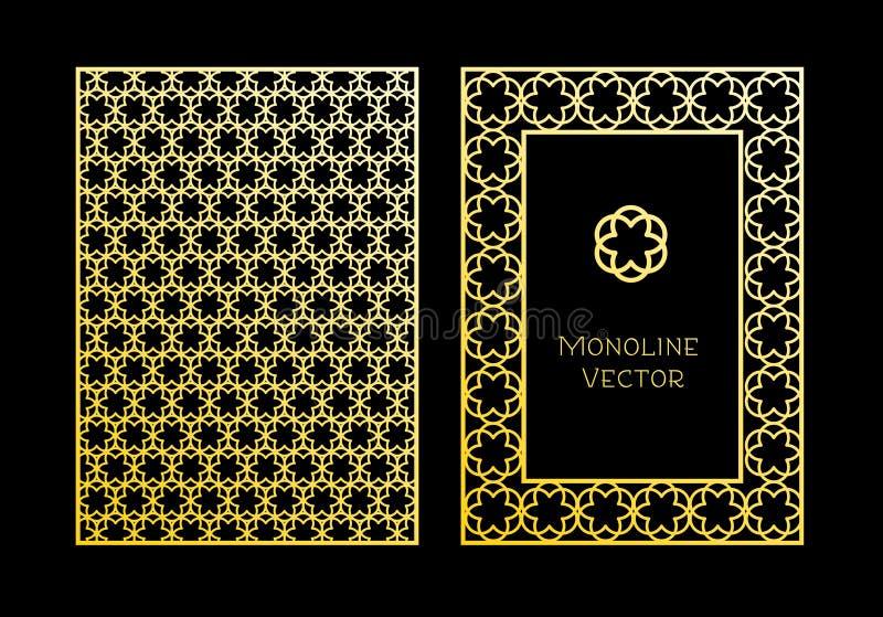 Etiquetas e quadros para empacotar para produtos luxuosos no estilo linear na moda ilustração do vetor