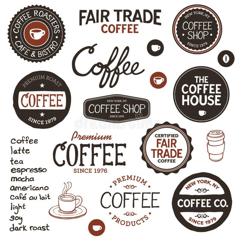 Etiquetas e rotulação do café do vintage ilustração royalty free