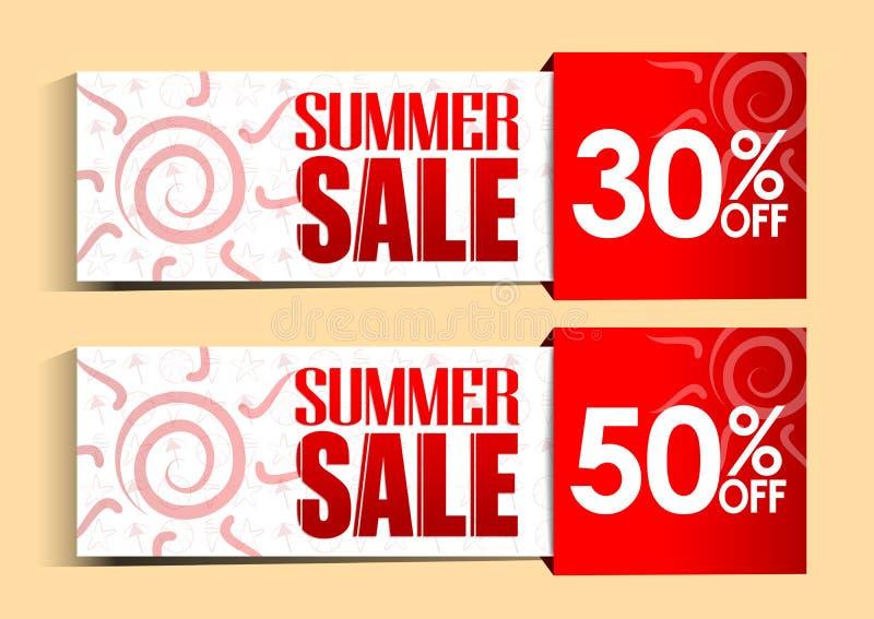 Etiquetas e sinais da venda do verão com Sun e testes padrões ilustração stock