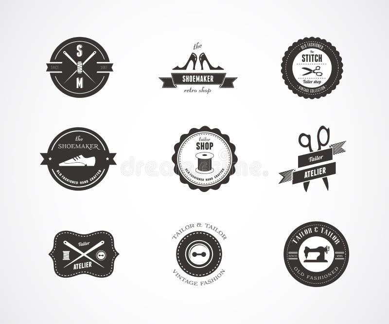Etiquetas, elementos e insignias de costura del vintage libre illustration