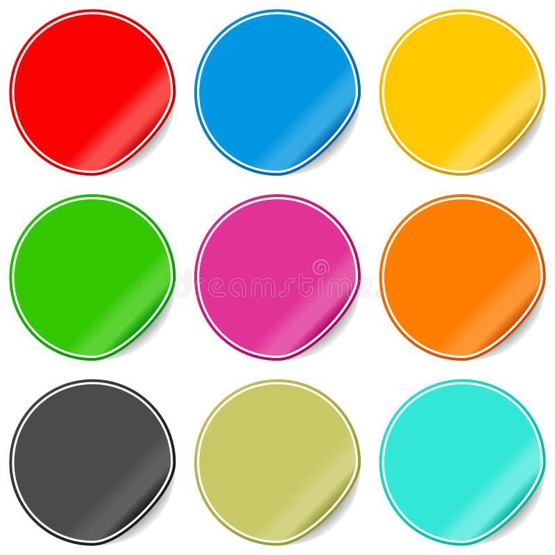 Etiquetas em branco coloridas ajustadas ilustração do vetor