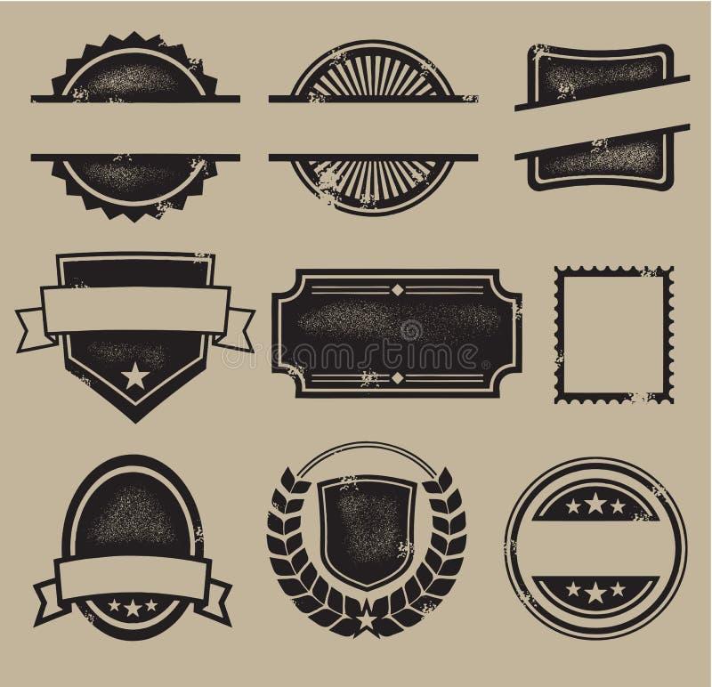 Etiquetas, emblemas, & selos do vintage ilustração do vetor