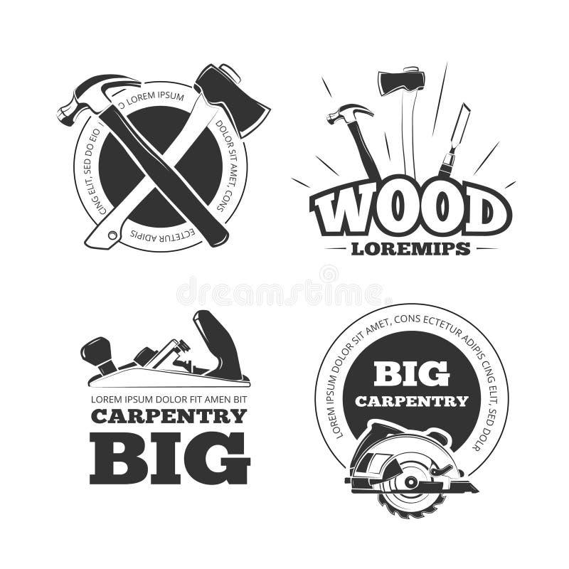 Etiquetas, emblemas, insignias y logotipos del vector de la carpintería del vintage fijados stock de ilustración