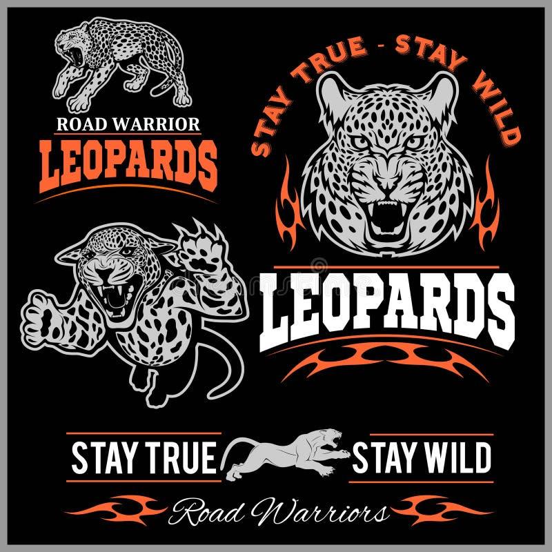 Etiquetas, emblemas y elementos del diseño para el club de deporte con el leopardo ilustración del vector