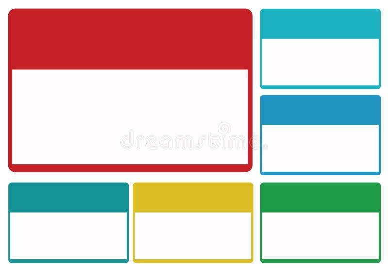 Etiquetas en blanco coloridas stock de ilustración