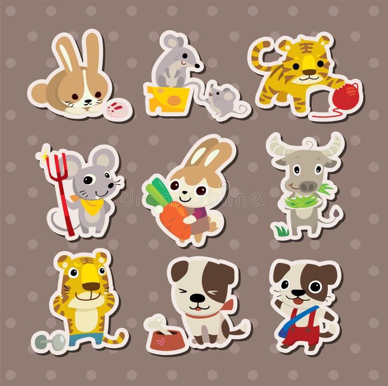 Etiquetas engomadas animales stock de ilustración