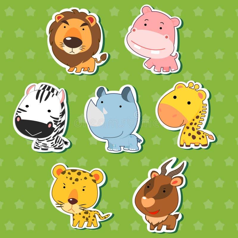 Etiquetas engomadas animales lindas 09 ilustración del vector