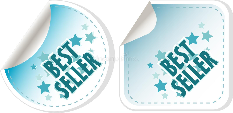 Etiquetas engomadas azules del superventas fijadas. escritura de la etiqueta del vector ilustración del vector