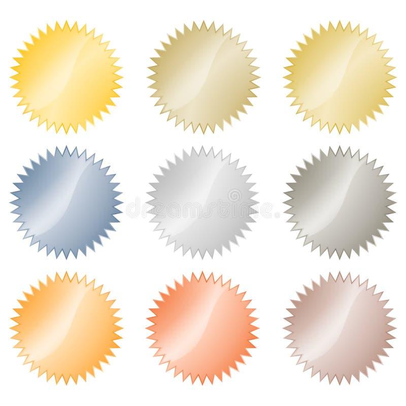 Etiquetas engomadas brillantes en blanco del vector en el oro, oro rojo, platino, plata, bronce, cobre, aluminio Cuál se puede ut ilustración del vector