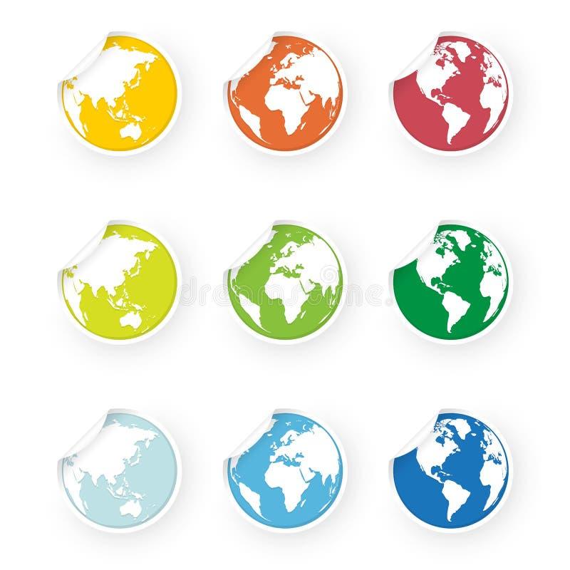 Etiquetas engomadas coloreadas de los iconos del globo del mundo fijadas libre illustration