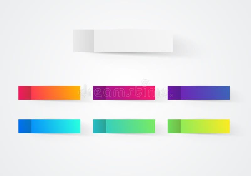 Etiquetas engomadas coloridas de la nota del poste del vector Cintas pegajosas con la plantilla de la sombra ilustración del vector