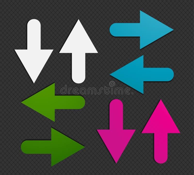 Etiquetas engomadas coloridas de las flechas stock de ilustración