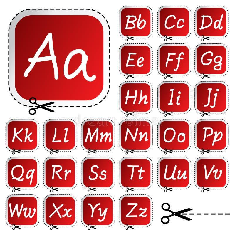 Etiquetas engomadas con alfabeto del gráfico de la mano stock de ilustración