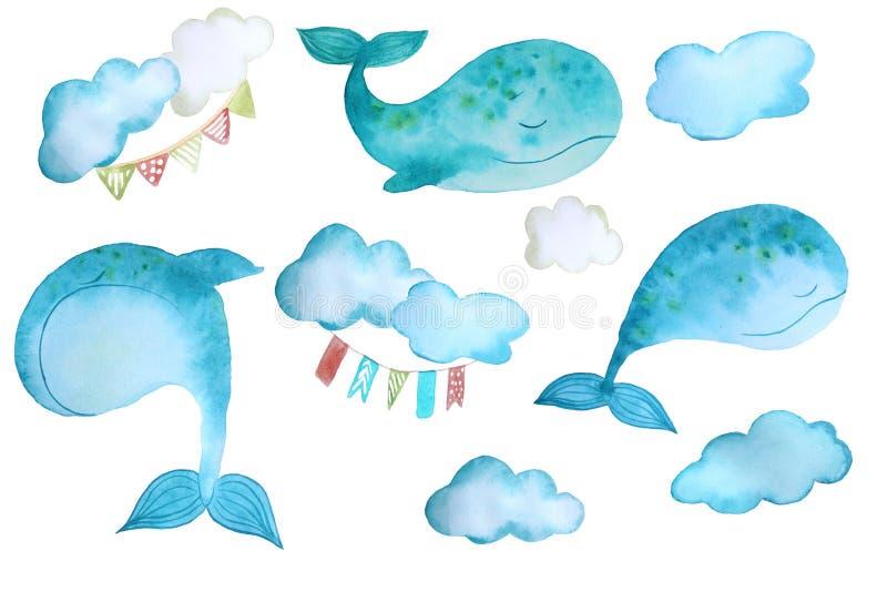 Etiquetas engomadas con las ballenas stock de ilustración