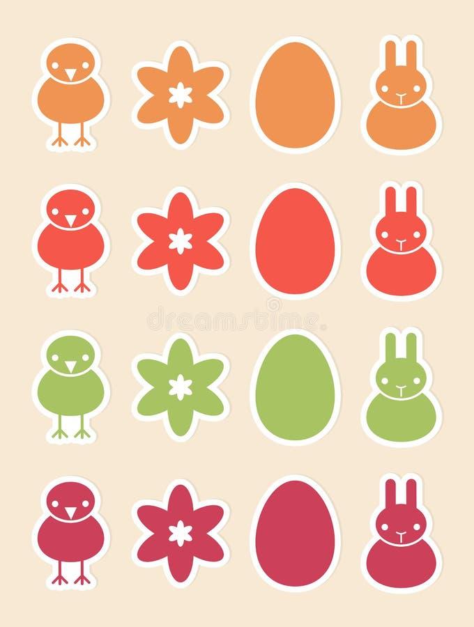 Etiquetas engomadas con los símbolos de Pascua libre illustration