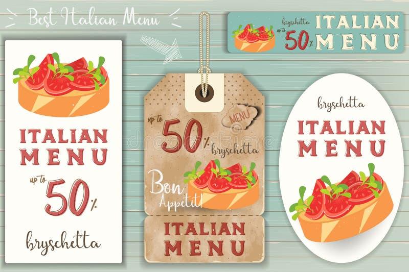 Etiquetas engomadas de Bruschtta del italiano fijadas stock de ilustración