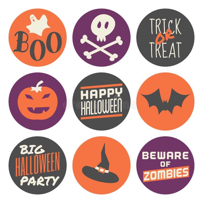 Etiquetas engomadas de Halloween fijadas stock de ilustración