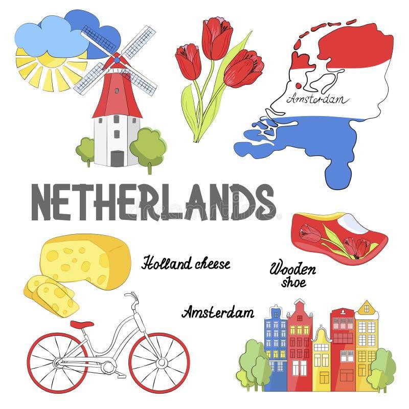 Etiquetas engomadas de Holanda Símbolos culturales y de la excursión Cartel con los tulipanes, el queso de Holanda, la bicicleta, stock de ilustración