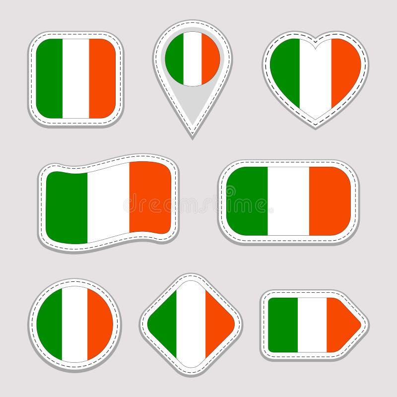 Etiquetas engomadas de la bandera de Irlanda fijadas Insignias irlandesas de los símbolos nacionales Iconos geométricos aislados  libre illustration